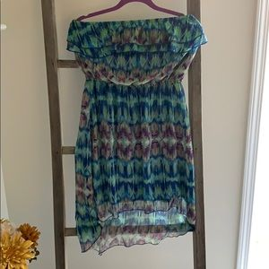 Boho print high/low hem dress